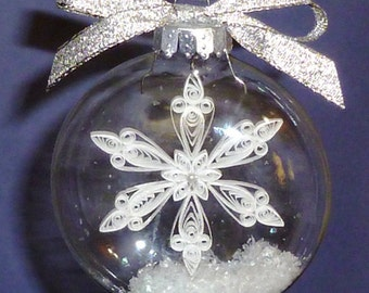 Tutorial -- Quilled Snowflake Inside Glass Ornament Pattern