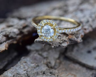 Halo Diamond Engagement Ring 1.50 ct - Yellow Gold Ring - Engagement Ring Side Stones - Bridal Jewelry - Anniversary -wedding band-For her