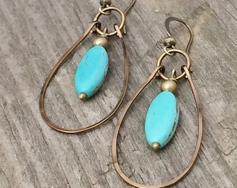 Turquoise Earrings, Turquoise Hoop Earrings, Brass Earrings, Dangle Hoop Earrings, Turquoise Jewelry, Brass Hoop Earrings, Brass Jewelry