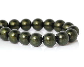 20 Olive Green Glass Beads Gold Glitter Bead 10mm Large Spacer Bead Army Green with Gold Swirl Glitter Shiny 3967