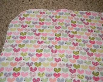 Multicolored Heart XL Receiving Blanket