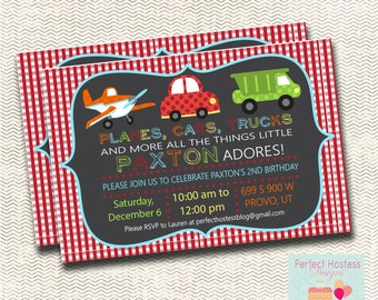Planes, Cars, Trucks and More! Birthday Invitation