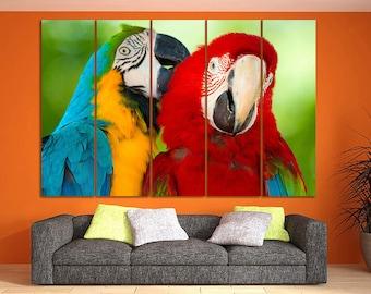 Parrot canvas Parrot poster Bird print Bird decor Parrot decor Safari canvas Animal wall art Bird art Kids room decor Nursery print