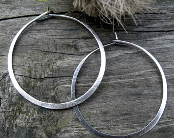 1.5 Inch Sterling Silver Hoops