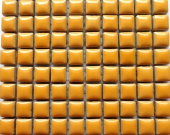 100 (10mm) MINI Curry Yellow Glazed Ceramic Tiles Mosaic Supplies//Mosaic Pieces//Crafts