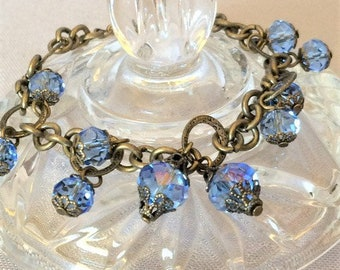 Sapphire Blue and Antique Gold Crystal Charm Bracelet; Crystal Dangle Bracelet; Blue Crystal Bracelet; Crystal Bracelet; Charm Bracelet
