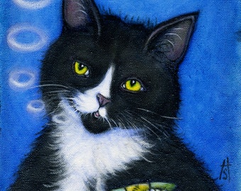 "Tuxedo cat smoking catnip cigar print. Charlie's ""Bad"" Habit"