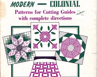 1970s Aunt Martha's Quilts Modern to Colonial Patterns for Cutting Guides 15 Pieced 4 Applique Original Booklet No. 3333 Not a Copy