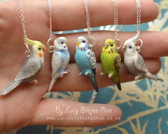 Custom-Made Bird Pendant with Chain - Any bird you want, sculpted by hand. Send a picture if you want a specific pet bird