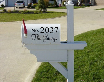 Name & House Number for your Mailbox 13x5.5  Vinyl Wall Lettering Words Quotes Decals Art Custom