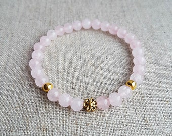 Rose Quartz Bracelet, Rose Quartz Jewelry, Rose Quartz, Gemstone Bracelet, Beaded Bracelet, Bracelets for women, Gift for her, Bracelets