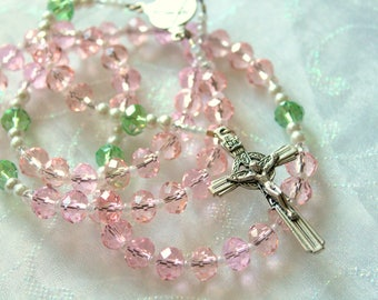 Pink and Peridot Crystal Rosary