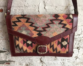 Turkish wool kilim and leather crossbody purse bag