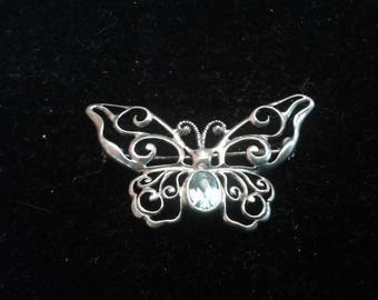 Vintage Victorian Revival Sterling Silver And Blue Topaz Butterfly Brooch