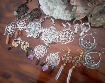 Mandala ear weights stretched ears earrings- Gauges/dangle plugs, plug weights dangle plugs, plugs, gauges, Earrings for Stretched Lobes