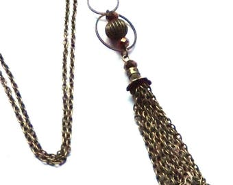 Necklace 60cm antique bronze and golden brown bead.