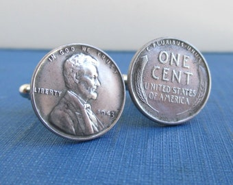 1943 Steel Penny Cuff Links - Lincoln Front & Back, USA Wheat Penny - Worn Coins