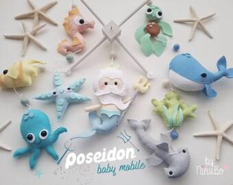 Poseidon Baby Mobile - Merman Mobile - Sea Creatures Mobile- Ocean Mobile - Whale Mobile - Cot Crib Mobile - Nautical Mobile