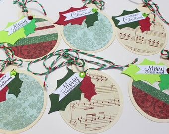 Set of 6, Christmas Ornament, Gift Tags, Assorted, Handmade, Gift, Tags, Christmas Gift Tags, Christmas Gifts, Holiday Tags, Holiday, Wrap
