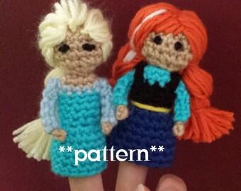 Frozen Crochet Finger Puppet Patterns, Anna and Elsa Finger Puppets, Anna and Elsa Crochet
