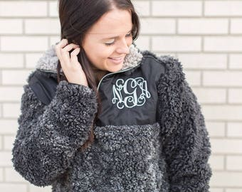 Monogrammed Sherpa pullover quarterzip TREND! Clearance Soft and warm