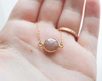 Peach moonstone necklace | semi precious | moonstone | gold filled | june birthstone | gift under 30 | gift for her | boho | christmas gift