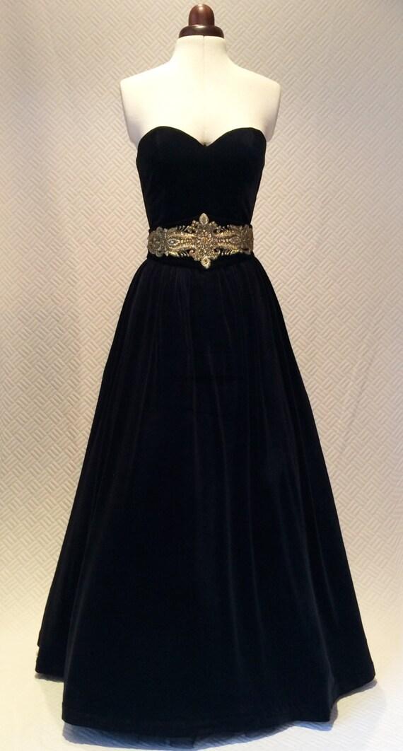 Ball gown vintage style dress velvet dress prom dress