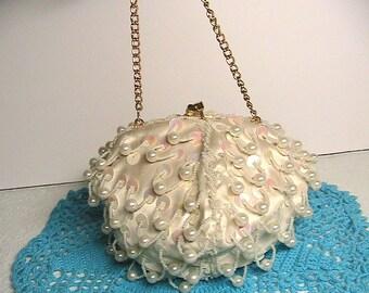 Handbag, Mister Ernest Hong Kong Vintage Beaded Sequin and Pearls Iridescent Kiss Lock Handbag, Never Used