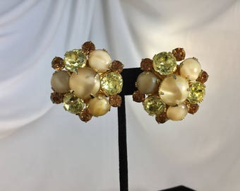 Vintage, Vendome Signed, Smokey Glass and Green Rhinestone Cluster Earrings.