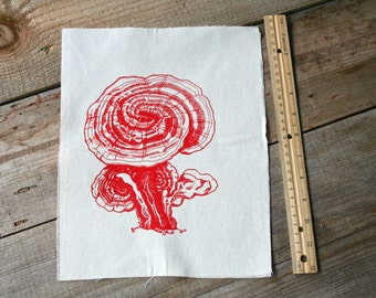 Patch Sew On Reishi Mushroom Nature Screen Print Natural Cotton Duck Canvas Large