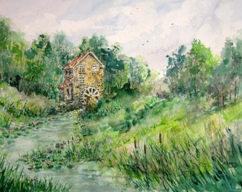 Landscape Painting, Old Mill, archival print, watercolor mill painting, scenic summer painting, country mill scene, watercolor art