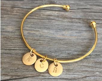 Gold Initials Bracelet, Mothers Bracelet, Initial Disc Bracelet, Personalized Gift, (Gold Falmouth Initials Cape Cod Bracelet)