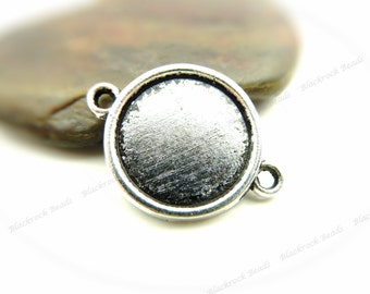 10 Cabochon Connector Settings Antique Silver Tone - Fits 16mm Cab, Round Bezel Trays, Cameo Base, Pendant Blank, 2 Loops - BH20