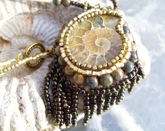 """Native American Jewelry, Ammonite Necklace, this is a """"Shades of Brown"""" mini bead fest entry for EBEG guild"""