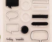SuppliersDream - Speech Bubbles Stamp Rubber Stamps Travel DIY GIFT Traveller's Minimalist Notebook Journal Planner Insert plain korean Cute