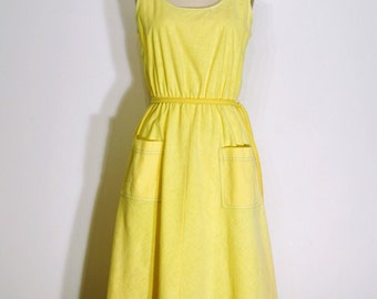 Vintage 1960s Dress - 60s Sun Dress - Lemon Yellow and Aqua Blue