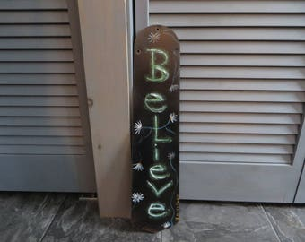 Believe, Painting, fan blade, blade, acrylic, picture, daisies