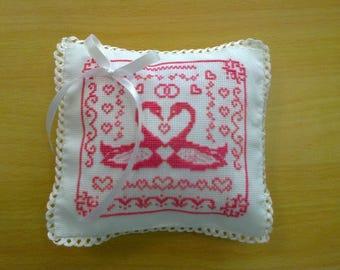 cross-stitched by hand, wedding ring cushion wedding