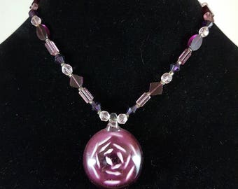 Pink and Purple Rose Necklace