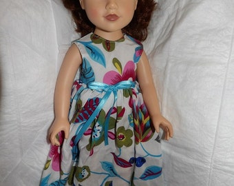 Tropical floral print maxi dress for 18 inch dolls - ag296