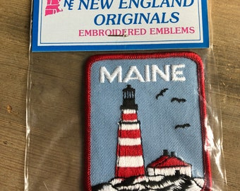 Vintage travel souvenir patch Maine lighthouse embroidered NIP