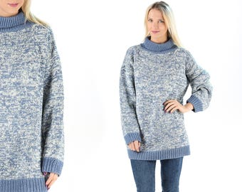 Chunky Knit Oversize Jumper Turtleneck 90s Slouchy Sweater Vintage Cozy Sweater Knitwear Minimalist Manly Speckled Blue Wool Sweater . Large