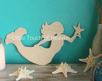 SALE!!! Mermaid Wood blank / DIY / unfinished / sanded / great for wreaths or door hangers