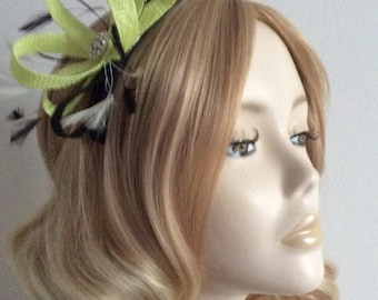 CITRUS LIME and BLACK Fascinator,  With feathers, Crystal detail, Mounted on a comb