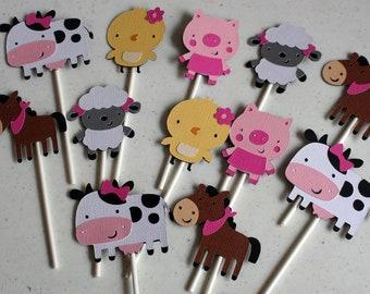 Farm Animal Cupcake Toppers, Barn yard Cupcake Toppers, Farm Birthday, Barnyard Birthday, Decor, Party Decorations