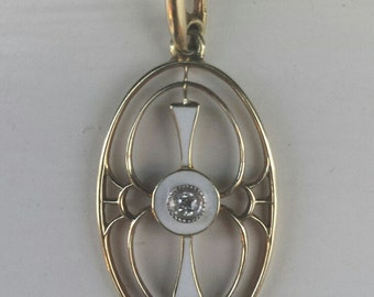14K Yellow Gold Victorian Pendant With Diamond