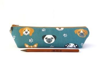 Cute dog pencil case, Boys pencil pouch, Men pen holder, Dog lover gift, Kawaii school supplies