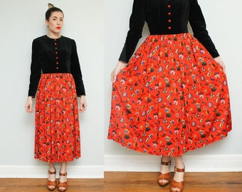1980s Velvet Floral Maxi Dress // 80s Red Black Full Length Fabric Button Down Folk Boho Hippie Long Sleeve Dress Size 8 10
