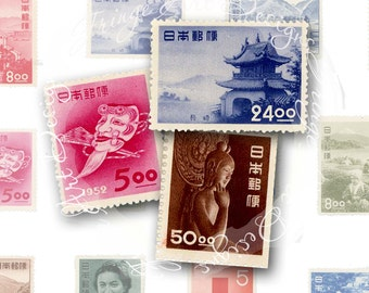 Vintage Japanese Postage Stamp Digital Sheet Instant Download for ACEO, Scrapbooking, Collage 2