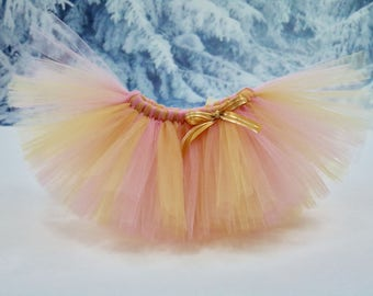 Pink and gold tutu. Full tutu. Cake smash tutu. Baby girl tutu. Holiday tutu. Smash the cake tutu. Birthday tutu. Fully customizable!!!!
